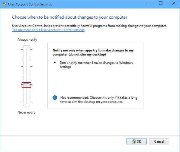 choose-notification-option-without-dimming-desktop Đổi User Account Control Setting Trong Windows 10