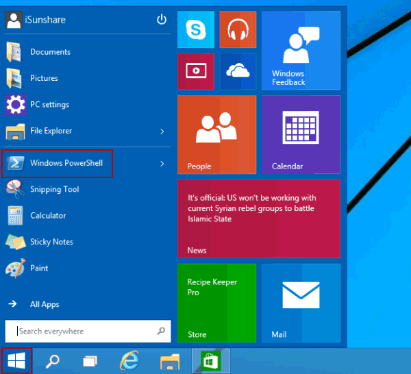 click start button and open windows powershell 5 Cách Mở Group Policy Editor Trong Windows 10