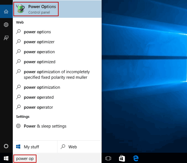 mở power option thông qua search 3 Cách Mở Power Option Trong Windows 10